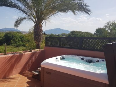 mountain view from private jacuzzi terrace
