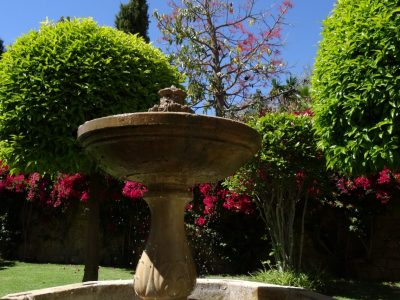 antique-fountain-in-the-backyard-besides-the-entrance-door